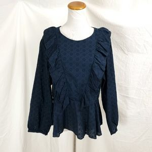 Textile Elizabeth & James XL Navy Eyelet Top Shirt